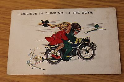 Phyliss Cooper Pre War Motorcycle Humurous Postcard Postally Used 1934?