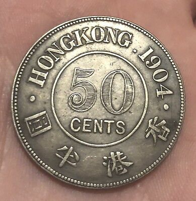 Hong Kong 1904 Silver 50 Cent Coin Very Scarce Coin 100,000 Only Minted