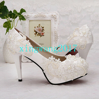 """3"""" 4 """"heel white ivory lace crystal pearls Wedding shoes pumps bride size 5-10"""