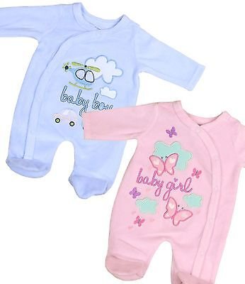 BabyPrem Premature Tiny Small Baby Boys Girls Clothes Velour Sleepsuit 3 - 8lb