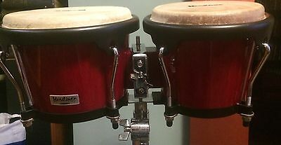 Headliner bongo drums in red with professional Toca stand and soft case