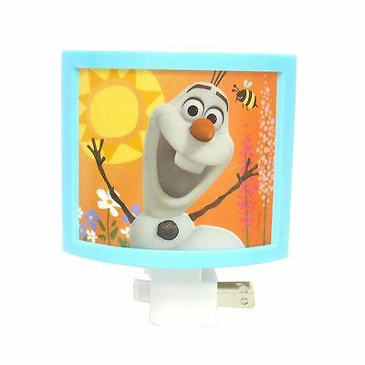 NEW plastic DISNEY plug-in FROZEN on/off switch NIGHT LIGHT bulb OLAF blue