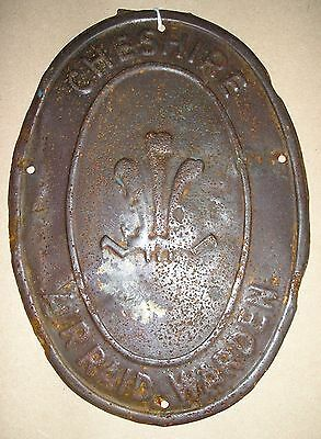 WW-II Air Raid Warden Tin Plate Oval Post Sign for the County of Cheshire c.1939