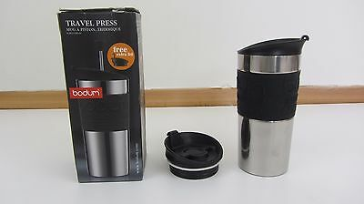 Bodum Travel Press Coffee Maker Set with Extra Lid, 0.35L, Black HARDLY USED