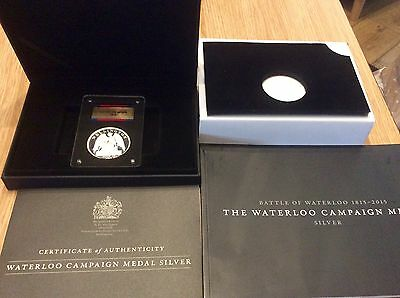 Waterloo Campaign Medal Sterling Silver Boxed With Coa Mint Condition