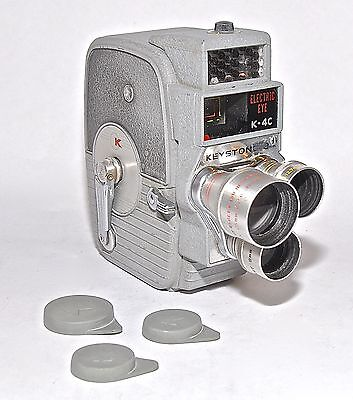 Keystone K-4C Electric Eye Triple Lens 8mm Movie Camera with Leather Case 1950's
