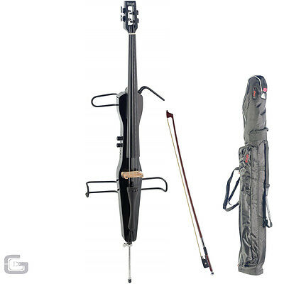 Stagg High Quality Black Electric Cello With Carry Case And Bow ECL 4/4 BK