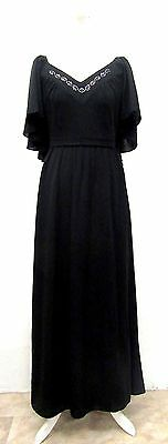 VINTAGE 70s DISCO GLAM BLACK DIAMANTE EMBELLISHED BUTTERFLY MAXI DRESS SIZE 8
