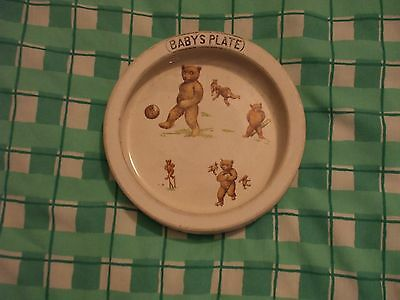 Very Old Ceramic Baby's Plate Decorated With Pictures Of Bears