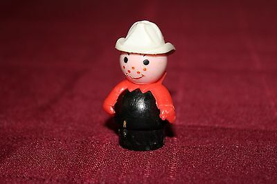 Fisher Price Little People - Vintage - Wooden Body Fire Chief, Firefighter