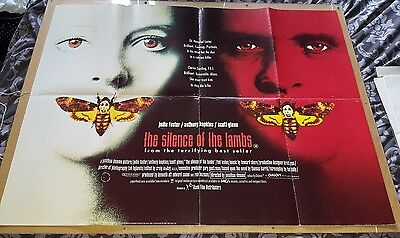 SILENCE OF THE LAMBS 1991 British Original Quad Cinema Poster Hopkins Hannibal