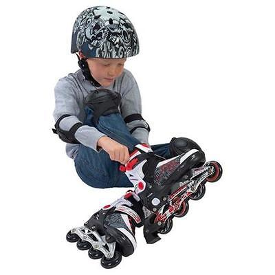 KIDS INLINE SKATE Red White Adjustable Aluminum Chassis One Rear Wheel Stopper