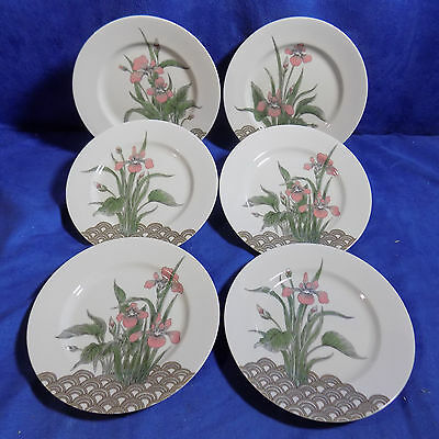 Set Of 6 Fitz And Floyd Water Iris Floral Salad Plates - Excellent