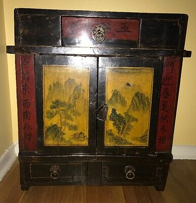 Antique Asian Portable Shrine / Ancestrial Altar Wooden Cabinet w/Wall Mount