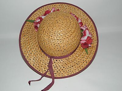Vintage Ladies Straw Hat With Ribbon & Flower Detail By Peter Bettley - One Size
