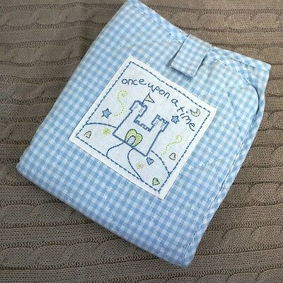 Blue White Check Once Upon A Time Baby Nappy Changing Mat Folding Travel in Bag