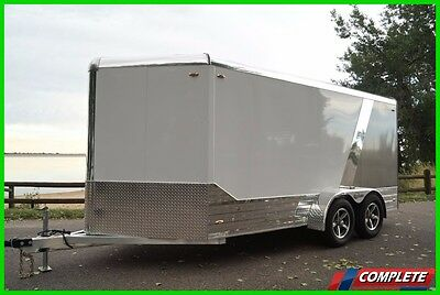 All Aluminum 7 X 17 Enclosed Cargo Motorcycle Trailer: Ramp, Trim, Torsion VIDEO