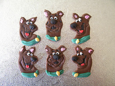 SCOOBY DOO HEADS set of 6 edible cake cupcake chocolate flavoured decorations