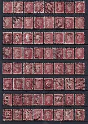 1858-1864 SG43 Penny red plates 71 to 224 all good/fine used