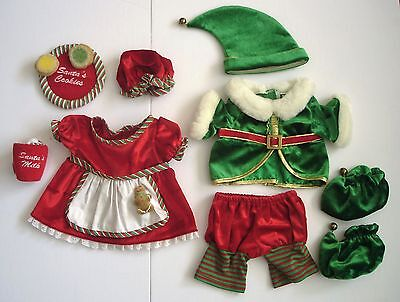 Build a Bear Christmas Elf Outfit & Mrs. Claus Dress /Hat /Cookies & Milk w/Tray