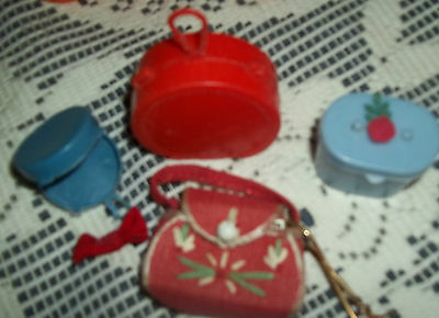 vintage Lot of barbie doll purses dishes, hanger,wigs
