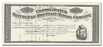 Consolidated Republican Mountain Mining Company Stock Certificate