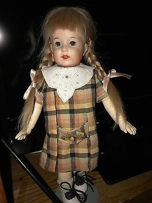 "Bleuette Reproduction SFBJ 251 ""Dimples"" with Blue Eyes And Blonde Braids"