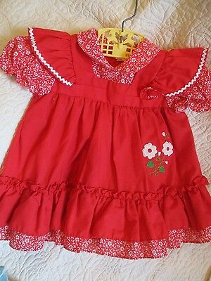 vintage baby dress, red, ric rac, flowers, ruffles, JCP, Toddler Time