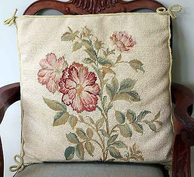 """Vintage Needlepoint Petitpoint Cushion Red Roses on Cream 14"""" Square with pad 2"""