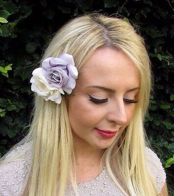 Double Lilac Grey Ivory Cream Rose Flower Hair Clip 1950s Purple Fascinator 3237