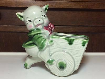 Vintage Shawnee pottery pig  wheelbarrow planter