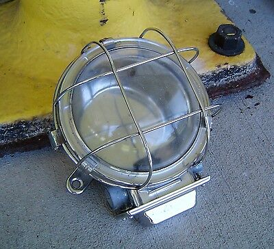 Antique Stainless Steel Nautical Ship's Ceiling Dome Light Rewired (Lot O)