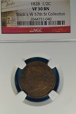 1828 13 Stars Classic Head Half Cent NGC VF30- Nice Looking, Stacks Pedigree
