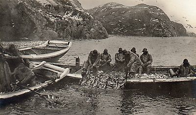 OLD MITTET POSTCARD CIRCA 1930's - NORWAY LOFOTEN ISLANDS - FRA SILDFISKE