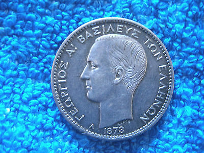 Greece: Scarce Silver 1 Drachma  1873-A Extremely Fine Plus!
