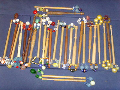 Job Lot Of Wooden Lace Making Bobbins With Spangles