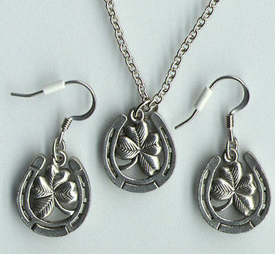 Silver Pewter LUCKY Horse HORSESHOE CLOVER pony Necklace Earrings SET  NEW