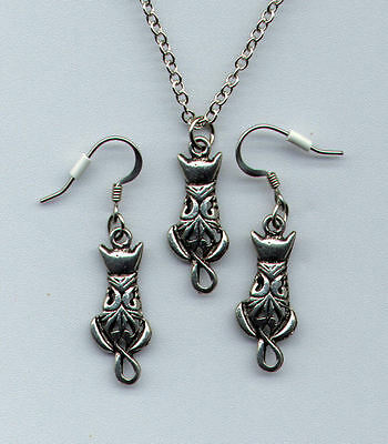 Silver Pewter CAT Kitten KiTTy Necklace & Earrings  NEW  Never Worn VERY PRETTY