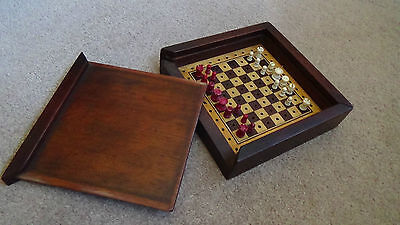 Antique Edwardian Travel Chess Set Inlayed Board