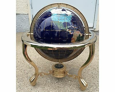 Vintage 14 Inch Tall Gemstone Atlas Globe With Semi Precious Stones & Compass