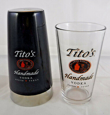 Tito's Vodka Shaker Set - Pint Glass & Stainless Shaker Pub Bar Man Cave