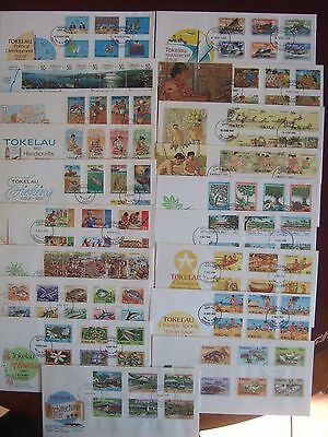 TOKELAU ISLANDS - COLLECTION OF 19 x DIFF SETS VFU ON FIRST DAY COVERS 1981-1990