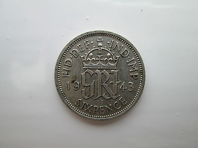 1943 George VI Silver Sixpence Coin