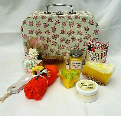 Ladies pampering,  gift set in a vintage style suitcase gift box.