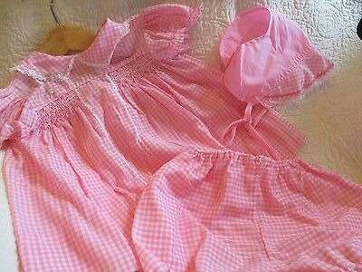 vintage baby dress set, pink gingham, bonnet, diaper cover panty, button up
