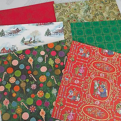 6 Vintage Wrapping Paper Christmas Hallmark Scrapbooking Old Stock