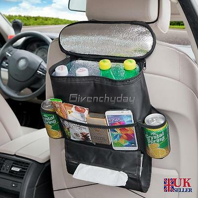 Car Van Back Seat Organiser Multi-Pocket w/ Cool Hot Thermal Bag Travel Storage