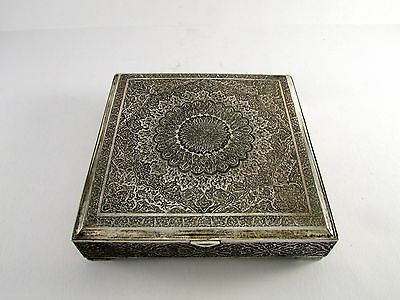 ANTIQUE ISFAHAN PERSIAN SILVER BOX 423 Grams Marked Fadavi 84