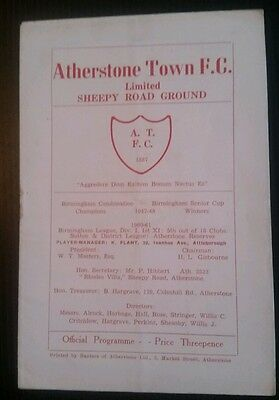 Atherstone Town v Kidderminster Harriers Programme 1960s