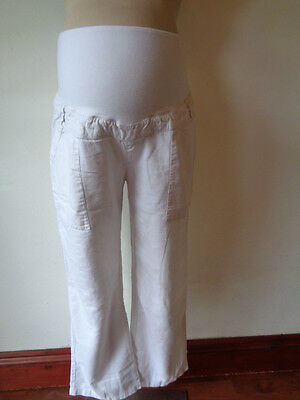 Bm Maternity White Over Bump Cropped Linen Mix Trousers Size 16